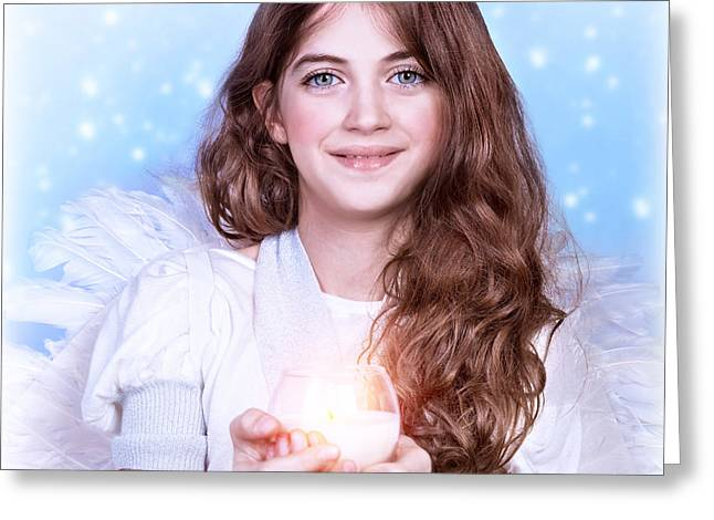 Archangel Greeting Cards - Sweet angel girl Greeting Card by Anna Omelchenko