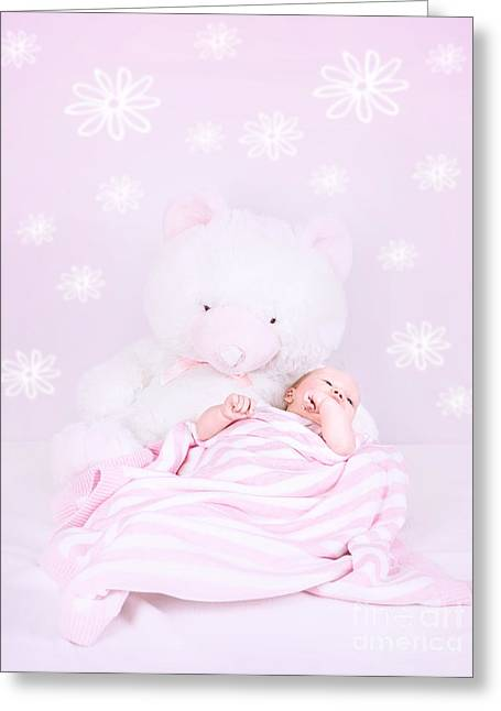 Pink Flower Prints Greeting Cards - Sweet baby sleep Greeting Card by Anna Omelchenko
