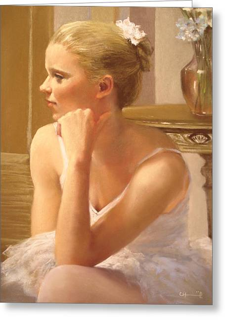 Subtle Colors Pastels Greeting Cards - Sweet ballerina Greeting Card by Cecile Houel