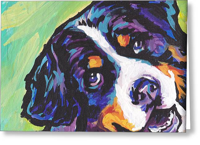 Puppies Paintings Greeting Cards - Sweet Berner Greeting Card by Lea