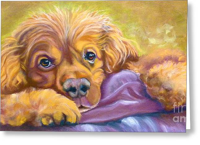 Spaniel Drawings Greeting Cards - Sweet Boy Rescued Greeting Card by Susan A Becker