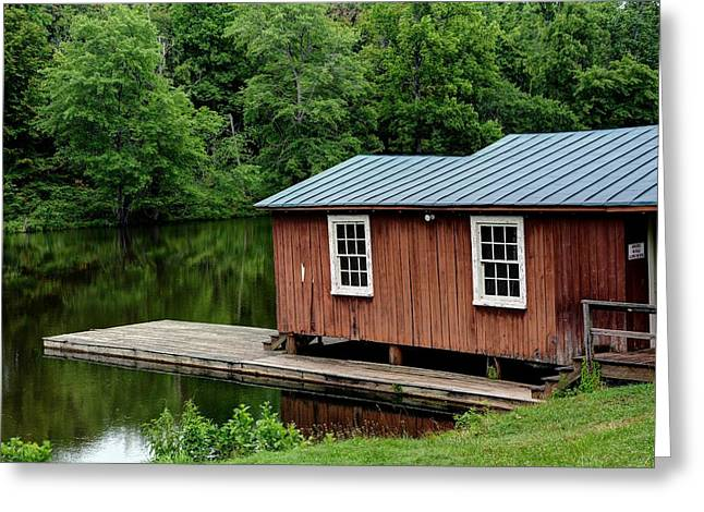 Brick Schools Photographs Greeting Cards - Sweet Briar Boat House Greeting Card by Todd Hostetter