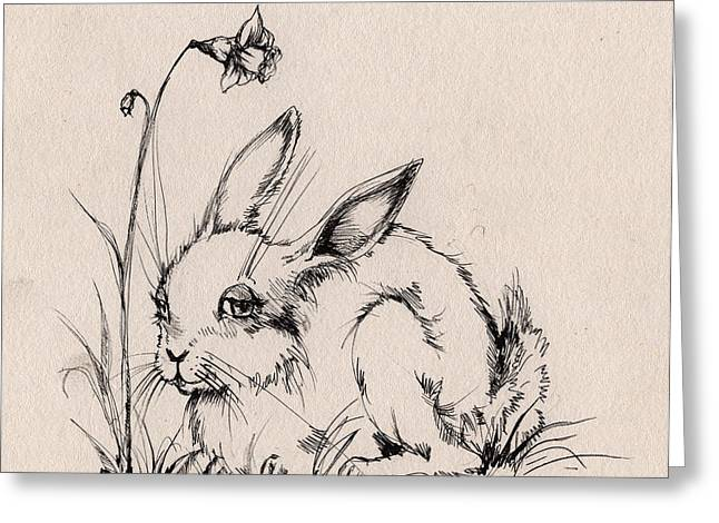 Easter Flowers Drawings Greeting Cards - Sweet Bunny Greeting Card by Angel  Tarantella