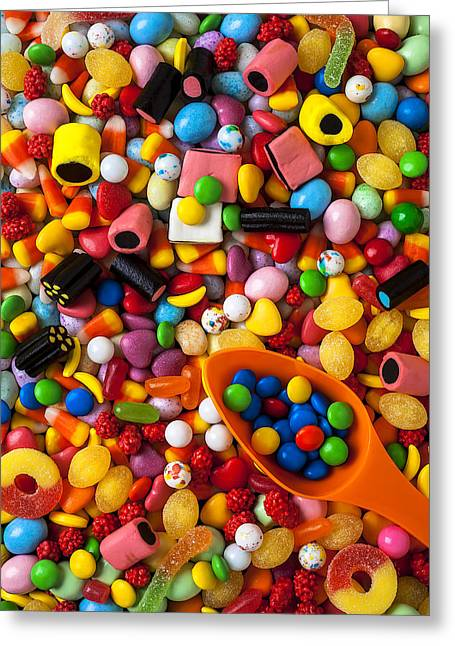 Jelly Greeting Cards - Sweet candy with scoop Greeting Card by Garry Gay