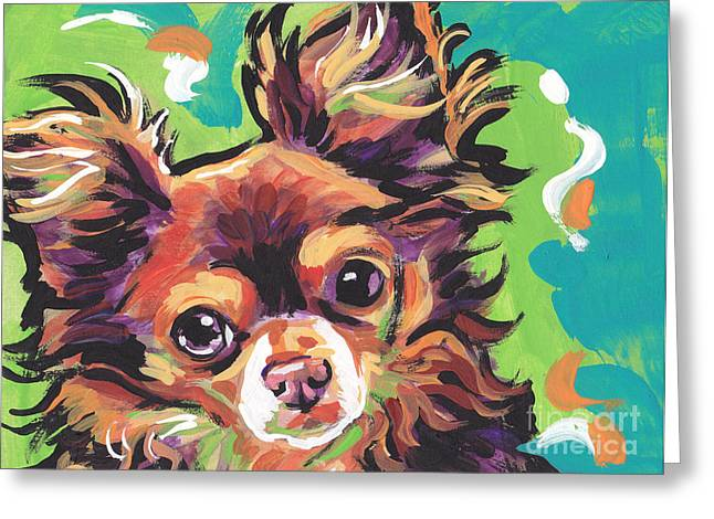 Dog Portraits Greeting Cards - Sweet Choco Chi  Greeting Card by Lea