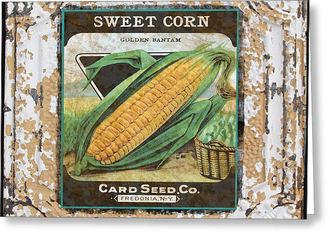 Sweet Corn Greeting Cards - Sweet Corn on Vintage Tin Greeting Card by Jean Plout