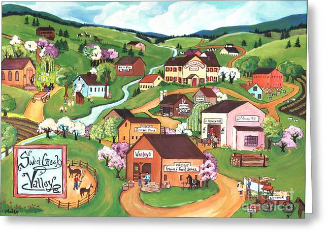 Arkansas Paintings Greeting Cards - Sweet Creek Valley Greeting Card by MarLa Hoover