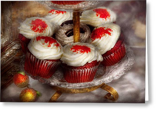 Sweet - Cupcake - Red velvet cupcakes  Greeting Card by Mike Savad