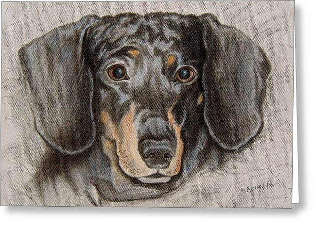 Black And Tan Dachshund Greeting Cards - Sweet Dachshund Hopeful Eyes Greeting Card by Renee Forth-Fukumoto