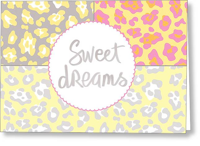 Bedroom Art Greeting Cards - Sweet Dreams - Animal Print Greeting Card by Linda Woods