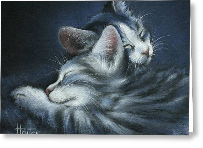 Blue Cat Greeting Cards - Sweet Dreams Greeting Card by Cynthia House