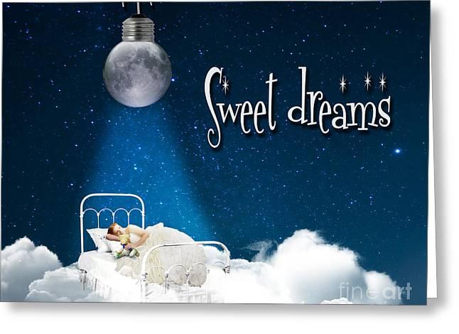Moon Digital Art Greeting Cards - Sweet Dreams Greeting Card by Juli Scalzi