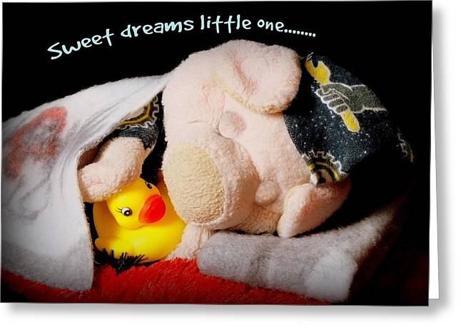 Pajamas Greeting Cards - Sweet Dreams Little One Greeting Card by Piggy
