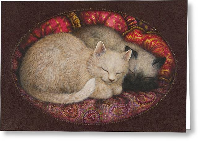 Siamese Cat Greeting Card Greeting Cards - Sweet Dreams Greeting Card by Lynn Bywaters