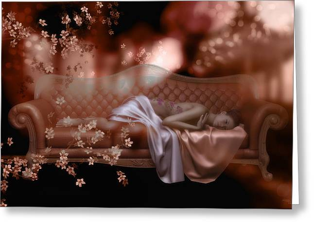 Chaise Greeting Cards - Sweet Dreams Greeting Card by Shanina Conway