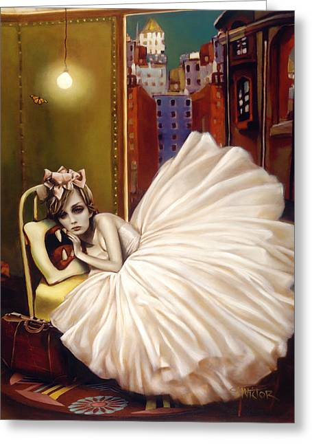 Figurative Mixed Media Greeting Cards - Sweet Dreams Greeting Card by Vic Lee