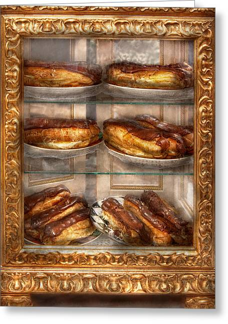 Display Case Greeting Cards - Sweet - Eclair - Chocolate Eclairs Greeting Card by Mike Savad