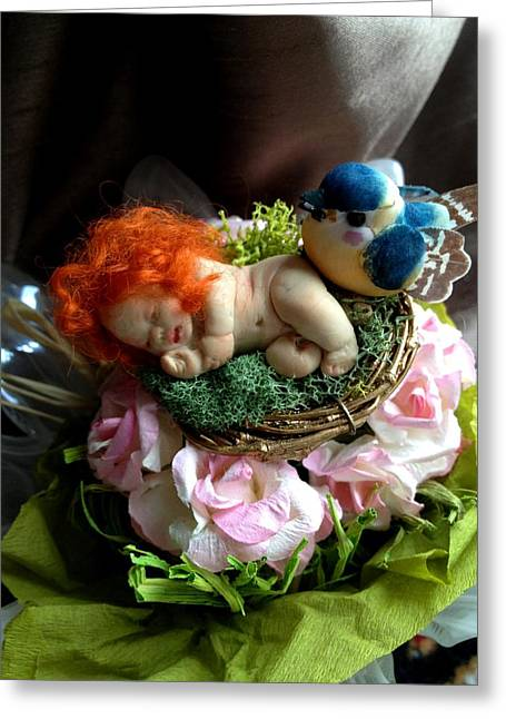 Sculpt Sculptures Greeting Cards - Sweet Fairy Baby Tangerine Greeting Card by TriyaandNora Sculpts
