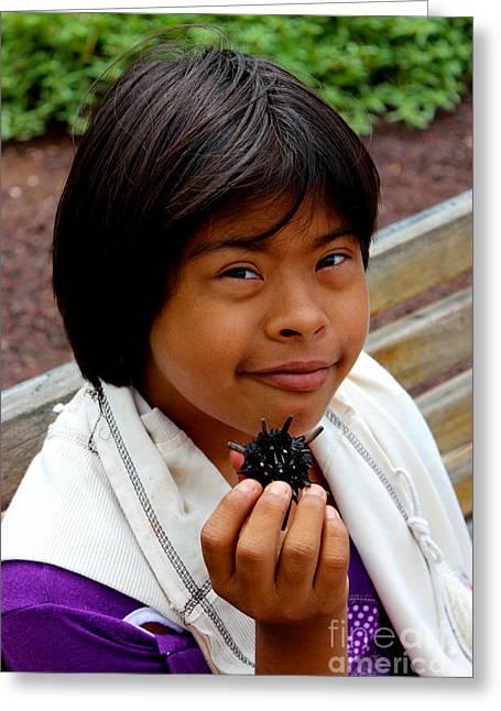 Handicap Greeting Cards - Sweet Galapagos Girl Greeting Card by Al Bourassa
