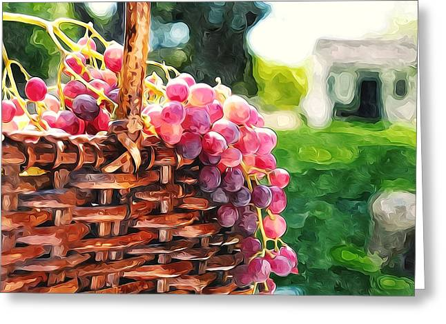 Viticulture Paintings Greeting Cards - Sweet grapes in basket Greeting Card by Lanjee Chee