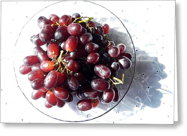 Healthy Glass Art Greeting Cards - Sweet Grapes Greeting Card by Loreta Mickiene