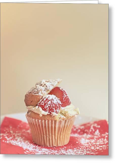 Strawberry Cupcake Greeting Cards - Sweet Inspiration Greeting Card by Evelina Kremsdorf