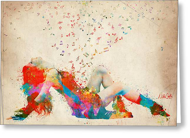 Rock Digital Art Greeting Cards - Sweet Jenny Bursting with Music Greeting Card by Nikki Smith