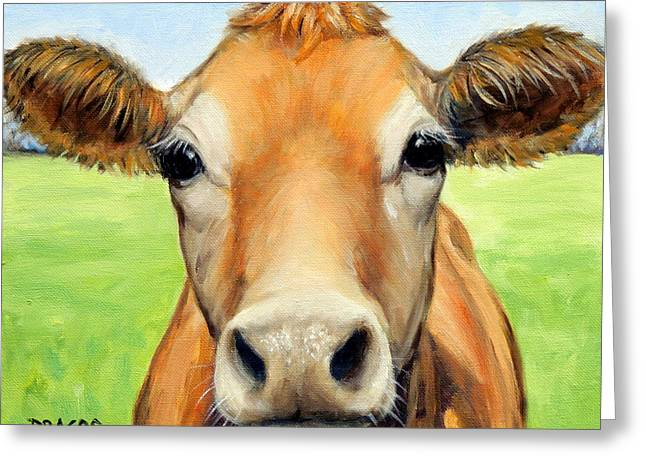 Cow Greeting Cards - Sweet Jersey Cow in Green Grass Greeting Card by Dottie Dracos