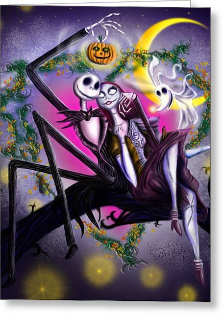 Looking In Greeting Cards - Sweet loving dreams in Halloween night Greeting Card by Alessandro Della Pietra