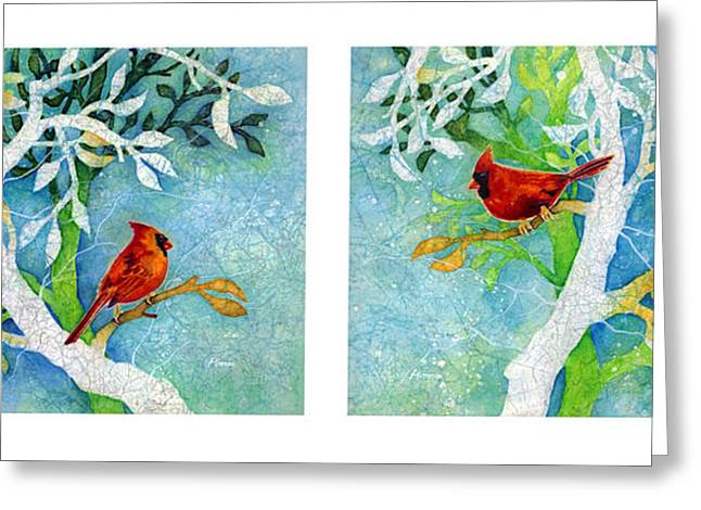 Male Northern Cardinal Greeting Cards - Sweet Memories Diptych Greeting Card by Hailey E Herrera