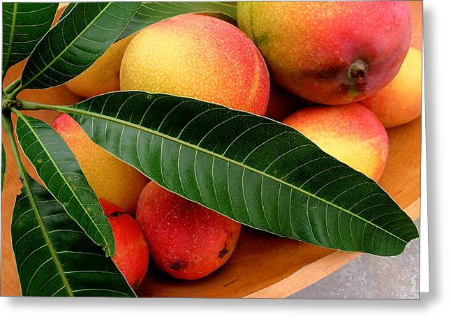 Sweet Molokai Mango Greeting Card by James Temple