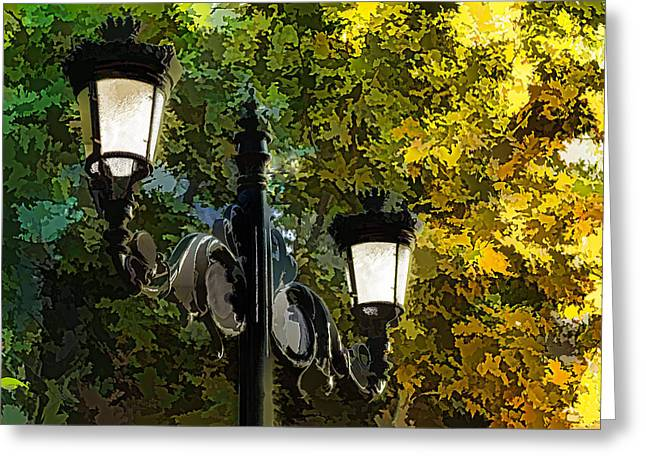 Duo Tone Digital Art Greeting Cards - Sweet Old-Fashioned Streetlights - Impressions of Fall Greeting Card by Georgia Mizuleva