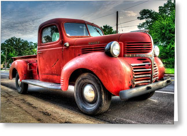 Sweet Old Red Truck Greeting Card by Geoff Mckay