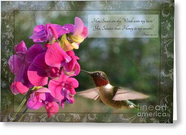 Bird Greetingcards Greeting Cards - Sweet Pea Hummingbird IV with verse Greeting Card by Debbie Portwood