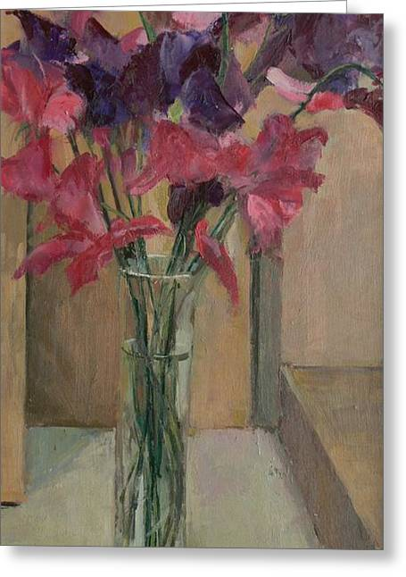 Flower Still Life Greeting Cards - Sweet Peas, 2008 Oil On Canvas Greeting Card by Pat Maclaurin