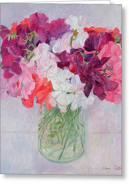 Indoor Still Life Paintings Greeting Cards - Sweet Peas Greeting Card by Ann Patrick