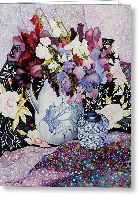 Water Jug Greeting Cards - Sweet peas in a blue and white jug with blue and white pot and textiles  Greeting Card by Joan Thewsey