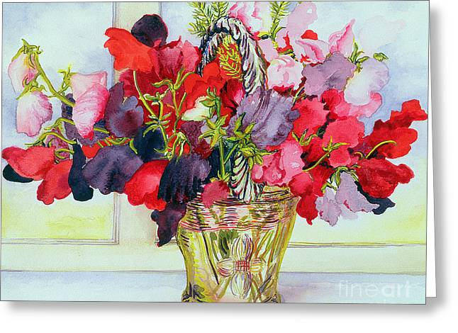 Bold Blossom Greeting Cards - Sweet Peas in a Vase Greeting Card by Joan Thewsey