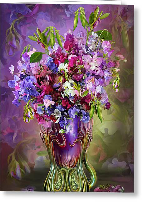 Pink Sweet Peas Greeting Cards - Sweet Peas In Sweet Pea Vase Greeting Card by Carol Cavalaris
