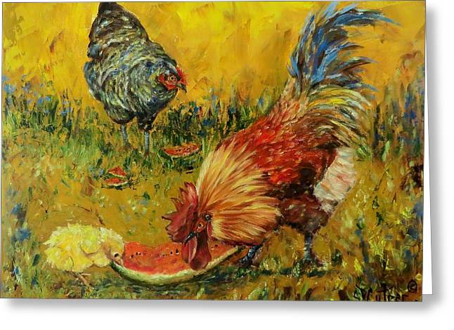 Watermelon Greeting Cards - Sweet Pickins chickens Greeting Card by Sandra Cutrer