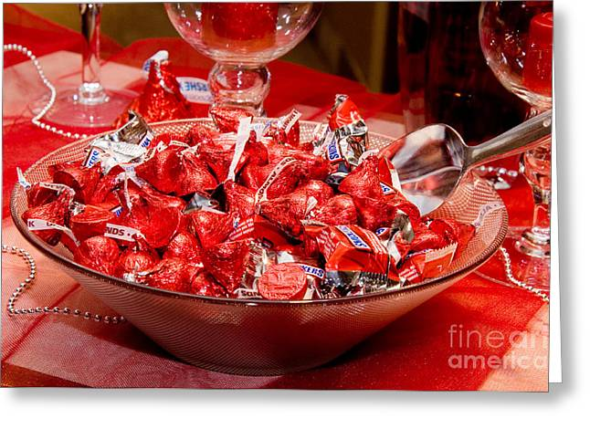Hershey Greeting Cards - Sweet Red Chocolaty Kisses Greeting Card by Andee Design