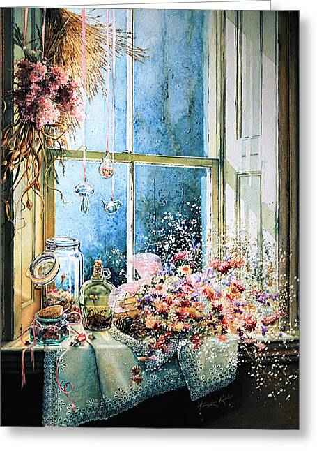 Print On Canvas Greeting Cards - Sweet Scents To Savor Greeting Card by Hanne Lore Koehler