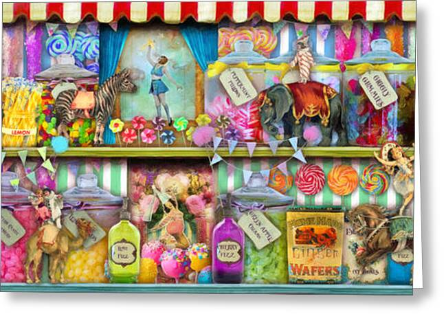 Amusements Digital Art Greeting Cards - Sweet Shop Panoramic Greeting Card by Aimee Stewart