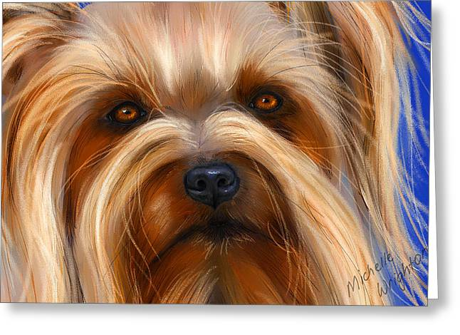 Sweet Silky Terrier Portrait Greeting Card by Michelle Wrighton