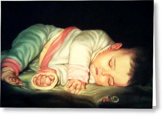 Innocence Pastels Greeting Cards - Sweet Sleep Greeting Card by Mojgan Jafari