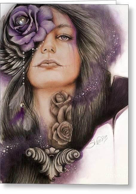 Face Tattoo Mixed Media Greeting Cards - Sweet Sorrow Greeting Card by Sheena Pike