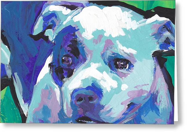 Staffordshire Bull Terrier Greeting Cards - Sweet Staffy Greeting Card by Lea