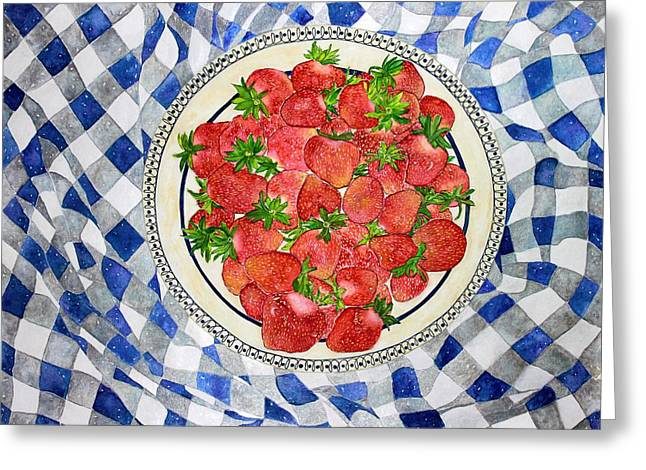 Checked Tablecloths Paintings Greeting Cards - Sweet Strawberries Greeting Card by Janet Immordino