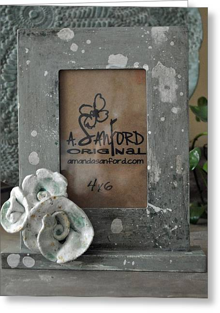 Hand Painted Ceramics Greeting Cards - Sweet SucRose Frame Greeting Card by Amanda  Sanford