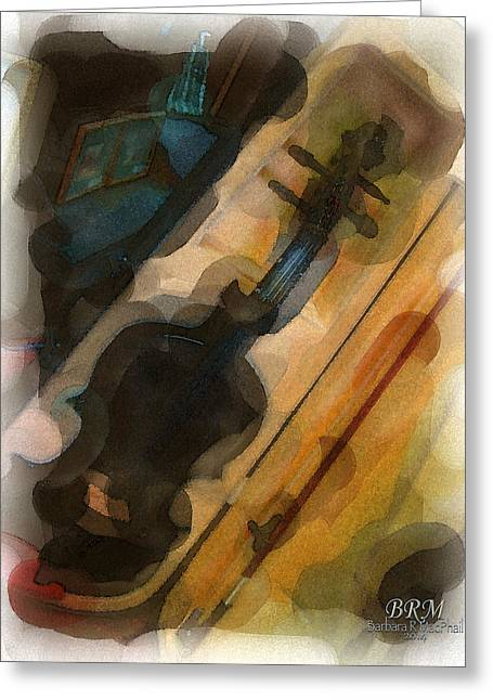 Turquoise Violin Greeting Cards - Sweet Violin Greeting Card by Barbara R MacPhail
